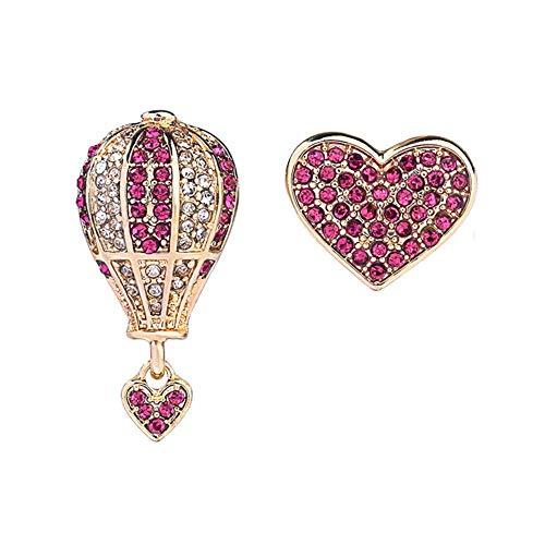 WLD Oorbel persoonlijkheid sieraden, oorlijn clip oorstekers creatieve diamant ballon liefde oorbellen eenvoudige Europese en Amerikaanse mode hipster asymmetrische oorbellen