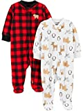 Simple Joys by Carter's Baby 2-Pack Fleece Footed Sleep and Play, Buffalo Check/Animals, 0-3 Months