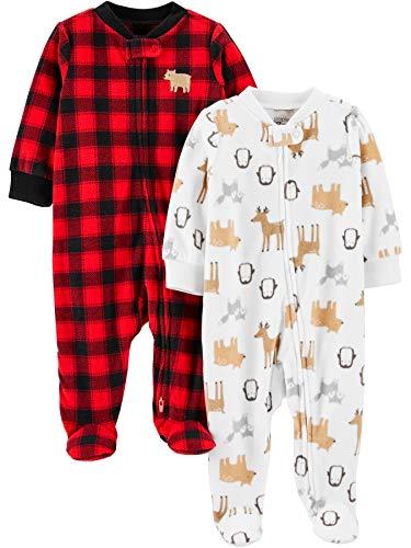 Simple Joys by Carter's 2-Pack Fleece Footed Sleep and Play para bebés y niños pequeños, Cuadros De Vichy/Animal, 0 Meses, Pack de 2