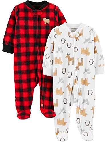 Simple Joys by Carter's 2-Pack Fleece Footed Sleep and Play Infant Toddler-Sleepers, Comprobación de búfalos/Animales, 3-6 Meses, Pack de 2