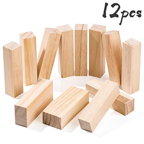 Yangbaga 12 Stücke Schnitzholz Set DIY Natürlich Unfertige Holzblöcke 10 x klein Ecking (10 * 2,5 * 2,5cm), 2 x Mittler Ecking(10 * 4 * 2,5cm)