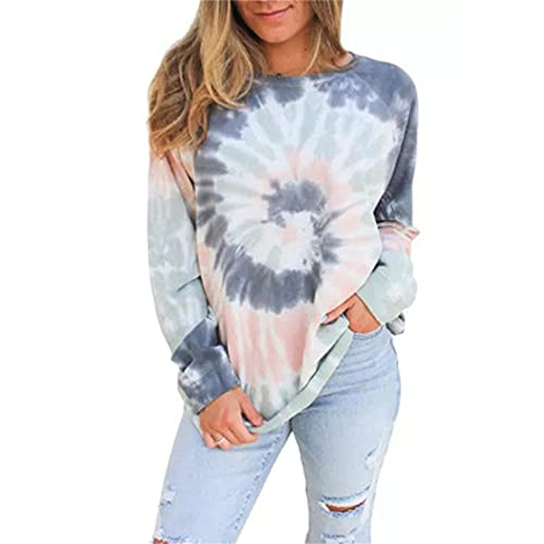 Mayntop - Maglietta da donna per estate primaverile, a maniche corte, con scollo a O, largo, taglie forti, camicetta, B-blu grigio, 52