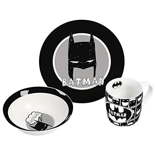 Warner Brothers Batman 13290 3-teiliges Kindergeschirr aus Porzellan. Bestehend aus Tasser, Teller, Schale