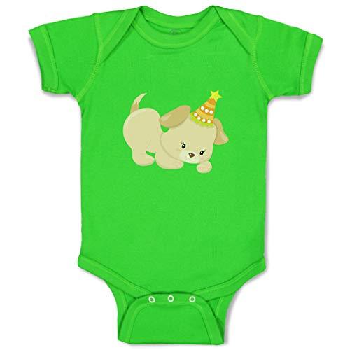 Custom Boy & Girl Baby Bodysuit Light Orange Puppy Wear Orange Hat Funny Cotton Baby Clothes Apple Green Design Only 12 Months