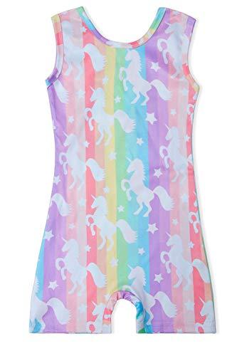 Funnycokid Girls' Athletic Base Layers Gymnastics Leotard Rainbow Unicorn Ballet Activewear 6-7 Years