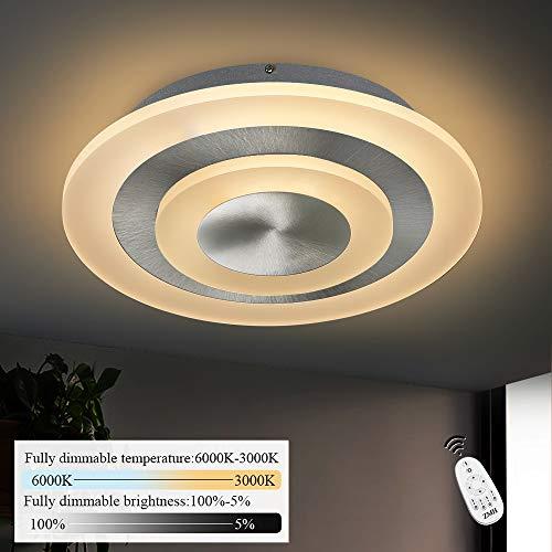 ZMH LED Deckenleuchte Wohnzimmer Dimmbar stufenlos mit Fernbedingung 20W Ø30cm rund Deckenlampe Bürodeckenleuchten für Wohnzimmer, Schlafzimmer, Küche Nickel Matt