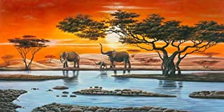 Wieco Art African Elephants Giclee Canvas Prints Wall Art Modern Extra Large African Landscape Animals Paintings Reproduction Pictures Artwork for Living Room Home Decorations P1RLA030-12060