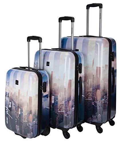 Saxoline Koffer Spinner mit Zahlenschloss, dreier Set, Gepäckset New York-Manhatten