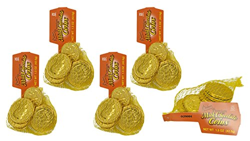 45 Palmer's Premium Milk Chocolate Coins - 5 Bags of Coins - Perfect Party Favor, Table Scatter, Easter Egg Filler, and More!