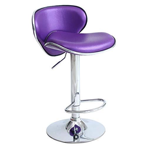 SXRDZ Taburetes de Bar, PU, Pueden Girar, Colocar con Respaldo, Silla de recepción Retro de Taburete, para Cocina y hogar (Color: Plata) Taburete (Color : Purple)