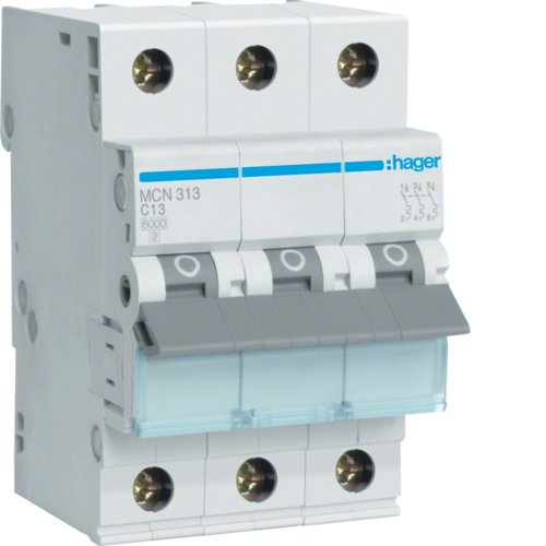 Hager MCN313 LS-Schalter 3P 6kA C-13A 3M Schraubtechnik