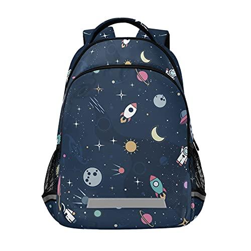 Mochila para ordenador portátil para niñas y niños, durable lindo color astronauta Bookbag con tira reflectante 42,4 x 29,5 x 17,5 cm