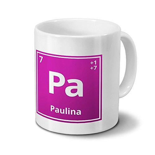 Tasse mit Namen Paulina als Element-Symbol des Perioden Systems - pink - Namenstasse, Kaffeebecher, Mug, Becher, Kaffeetasse