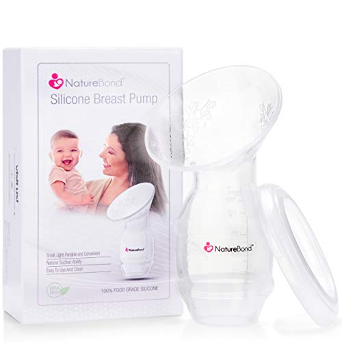 NatureBond Silicone Breastfeeding Manual Breast Pump Milk Saver Suction. New 2019 Basic Pack with Cover Lid in Hardcover Gift Box. BPA Free