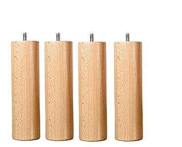 Juego de 4 patas de madera natural altura, 25 cm fijación estándar M8