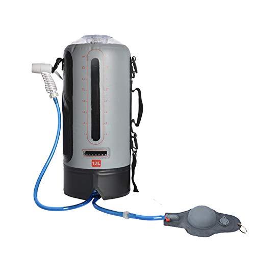12L Solar Camping Duschbeutel Mit Doppelschnittstelle Picknick Wassertasche Anti-Ultraviolett Duschbeutel Carabiner Fußtyp Mit Luftpumpe Tragbare Sportwassertasche,B