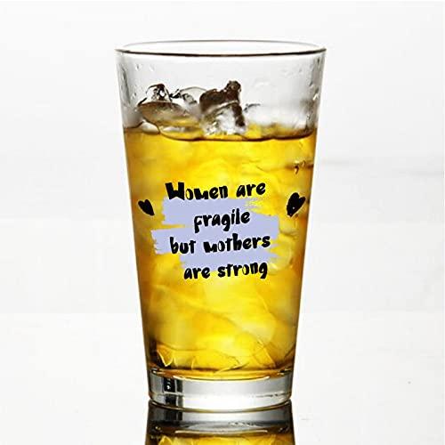 Vaso de cristal para madres frágiles, pero es fuerte para agua, zumo, cerveza, licor, whisky en boda, fiesta, día de la madre, día del padre, cumpleaños.
