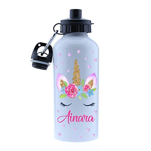 Kembilove – Cantimplora Infantil Personalizada – Botella de Aluminio Personalizada con el Nombre del Niño o Niña – Capacidad 500 ml peques – Cantimplora Unicornio.