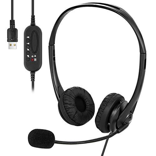 Ponacat Auriculares con Cable USB Auriculares con Micrófono Que Oculta El Ruido para Computadora Portátil con Cable de Escritorio