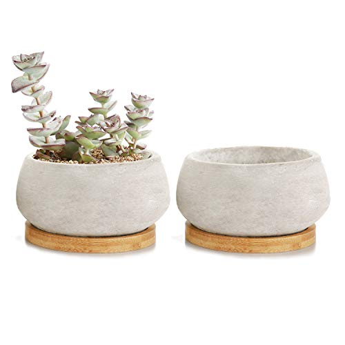 T4U 9cm Zement Sukkulenten Töpfchen mit Untersetzer Rund 2er-Set, Beton Mini Blumentopf für Kaktus Miniaturpflanzen