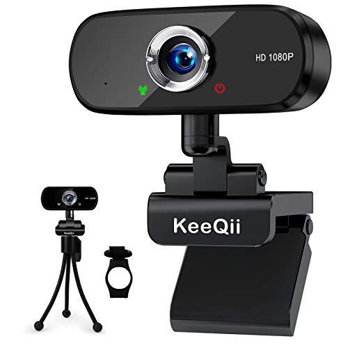 KeeQii Webcam mit Mikrofon, 1080P HD Webkamera mit Sichtschutzabdeckung und Stativ,...
