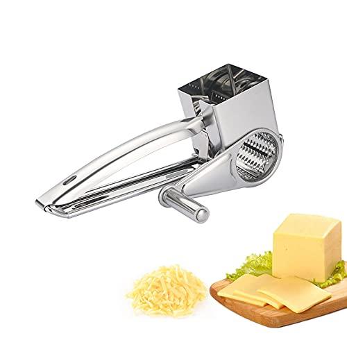 Beowanzk Rallador de queso Trituradora de queso de acero inoxidable, Cortador y rebanador de queso de mano profesional Queso parmesano Limón, jengibre, ajo, nuez moscada, chocolate, verduras, frutas