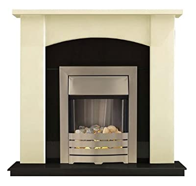 Adam Holden Fireplace Suite in Cream with Helios Electric Fire in Brushed Steel, 39 Inch