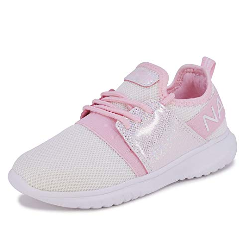 Nautica Missy Youth Girls Athletic Fashion Cross Trainer Lace Up Running Sneakers-Kappil Metallic-White Iridescent-2