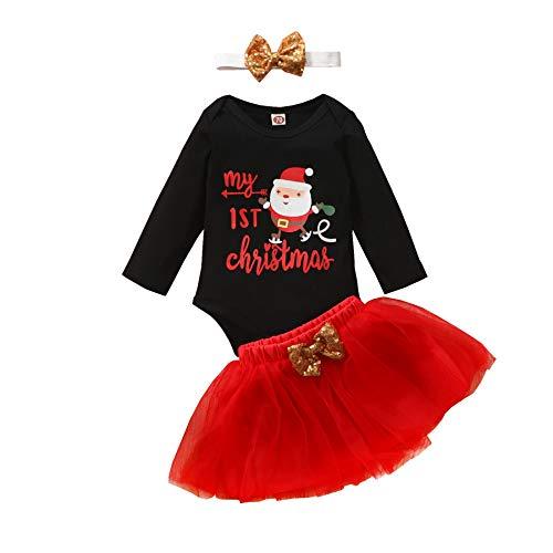 Carolilly Abito Neonata di Natale 3 Pezzi Completo Tutina a Manica Lunga Il Mio Primo Natale+Gonna a Rete Rossa +Fascia per Capelli Set di Bambine di Natale