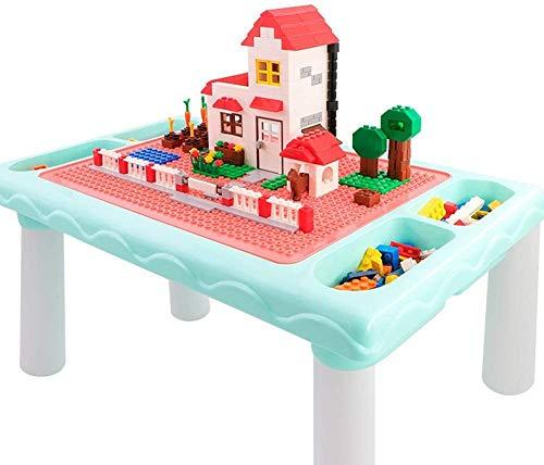 Mopoq Los ninos juegan Tabla Bloque de construccion Mesa, Mesa de Comedor de bebe Jigsaw Tabla, 300 Ladrillos de construccion Pcs oblicuos Bloques, Capacidad de Carga Fuerte, Azul