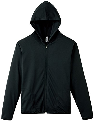 [グリマー] 長袖 4.4オンス ドライ UV ジップ パーカー 00338-AMZ メンズ ブラック M (日本サイズM相当)