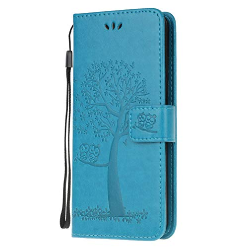 Thoankj Samsung Galaxy A51 Case, Flip Shockproof PU Leather Slim Fit Wallet Case Owl Tree with Stand Card Slot Holder Gel Bumper Folio Protective Cover for Samsung Galaxy A51 Phone Case Blue