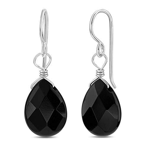 FRONAY Sterling Silver Black Dangle Earrings for Women Fashion Black Onyx Gemstone Teardrop Earrings