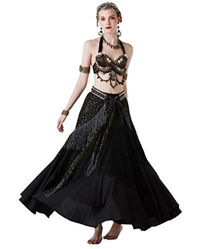 NANXCYR Gonna da Donna Fata Danza del Ventre Costume Tribale Gonna in Chiffon Abito Bollywood Vestito da Ballo di Halloween Elegante Abito da Ballo Lungo Abito da Spettacolo Latino,Nero,M