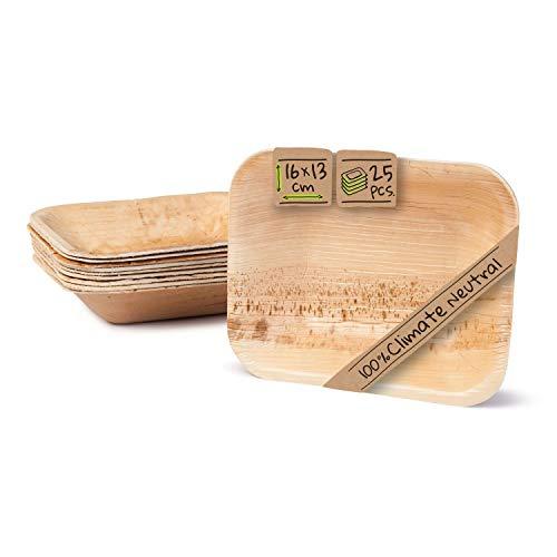 BIOZOYG Hochwertige Einweg Suppenteller tief rechteckig I 16 x 13 cm 25 Stück Snackschale Palmblattgeschirr Pastateller Salatschale I kompostierbares Einweggeschirr biologisch abbaubar