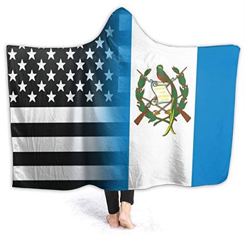AEMAPE Schwarz-Weiß USA Guatemala Flag Hooded Blanket Personalisierte Decken Fleece Throw Blanket für Kinder 60x50in