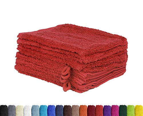 Lot de 10 gants de toilette en 100 % coton - 15 x 21 cm, Coton, rouge, 15 x 21 cm
