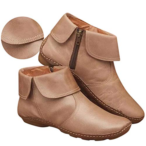 Gibobby Ankle Booties for Women Low Heel Leather only Womens Ankle Boots Pointed Toe Slip On V Cutout Snakeskin Two Tone Chunky Stacked Mid Heel Booties Beige