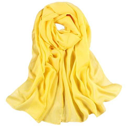 YEBIRAL Damen Schal Ganzjährig Chiffon Einfarbig Super Weich Deckenschal Halstuch(Gelb)