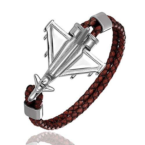 BQZB Armband Geflochtene Lederarmbänder Männer Edelstahl Flugzeug Anker Armbänder Weibliche Freundschaft Geschenke 23 cm Kaffee