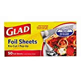 Glad Pre-Cut Pop Up Aluminum Foil Sheets for Baking, Grilling, and Food Prep, 120 Count | Easy to...