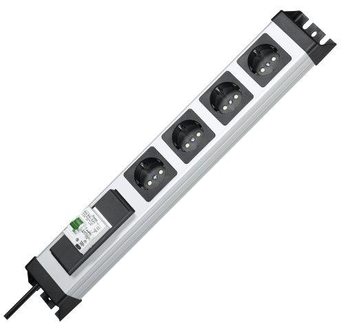 Kopp Powerversal stekkerdoos 4-voudig, 19 inch formaat, 1,40 m, 3600W/16A, 90 graden gedraaide aansluitingen, meervoudige stekkerdoos met FI/LS-schakelaar en randaarde, zilver-zwart, 228120012
