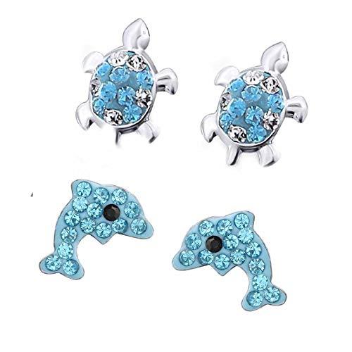 FIVE-D 2 Paar Kinderohrringe Schildkröte und Delfin Kristall 925 Sterling Silber in Schmucketui (Blau-Weiss)
