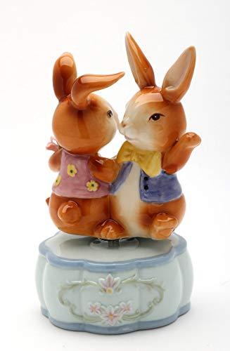 Fine Porcelain Dancing Best Friends Bunny Rabbit Musical Figurine (Music Tune: It's a Small World), 5-3/8'H