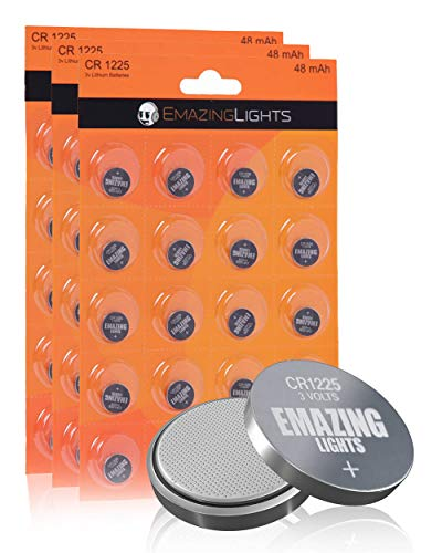 EmazingLights CR1225 Batteries 3 Volt Lithium Coin Cell 3V Button Battery (60 Pack)