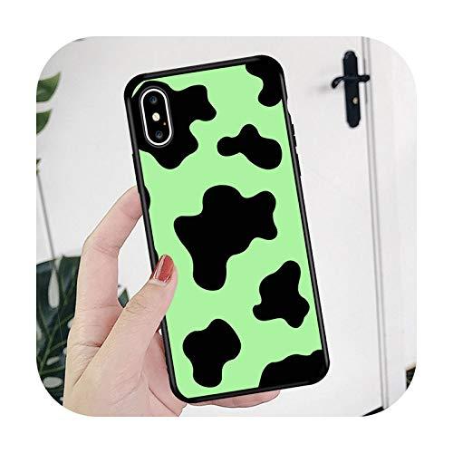 Phone cover Schutzhülle für iPhone 12 6 6S 7 8 Plus X Xs Xr Max 11 Pro SE 2020, Motiv Kuh, Weiß / Schwarz
