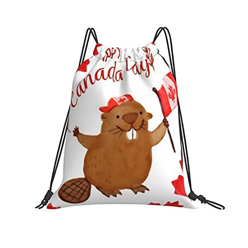 QUEMIN Mochila con cordón Mochila Happy Canada Day Beaver Gym