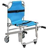 Treppenstuhl Aluminium Leicht klappbarer Krankenwagenstuhl 3 verstellbare Entriegelungsschnallen Sessellifte Notfall 4 WheelsTransport Chair -