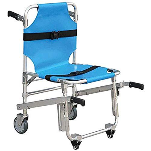 Stair Chair Silla de Escalera Silla de Ambulancia Plegable de Aluminio Ligero 3 Hebillas de liberación Ajustable Ascensores de Silla Emergencia 4 Ruedas Silla de Transporte