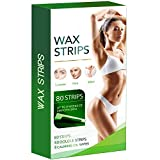 80 Wax Strips Hair Removal for Face, Brows, and Bikini - Hypoallergenic All Skin Types - Facial Hair Removal For Women - At Home Waxing Kit with 80 Wax Strips (40 Double Sided Strips) + 8 Calming Oil Wipes